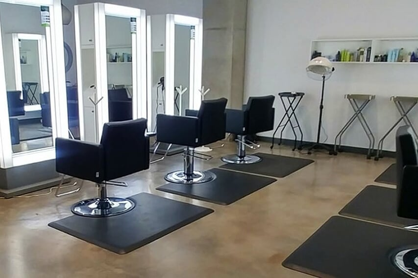 Concrete Staining and polishing in your hair salon in Rockwall, Texas